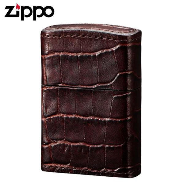 zippo ジッポーライター ベーシックサイドクロコブラウ…