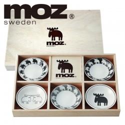 moz エルク 食器セット 北欧デザイン 小皿5枚セット木箱入 50053 来客用 ゲスト ホームパーティー 陶器 磁器 陶磁器