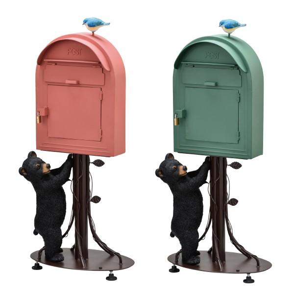 ポスト スタンド 置き型 赤 緑 動物 スタンドポスト リ…