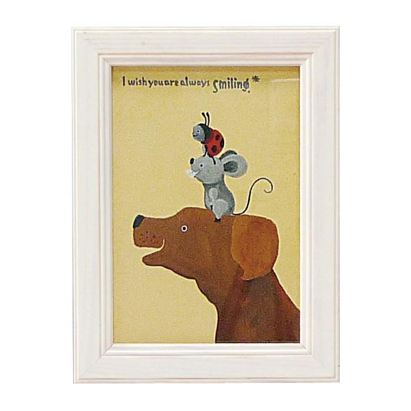 アートパネル ミニアート ウォールパネル インテリアパネル 動物 アニマル インテリア 子供部屋 壁掛け ミニアート 武内祐人  イヌとネズミとテントウ アートフレーム