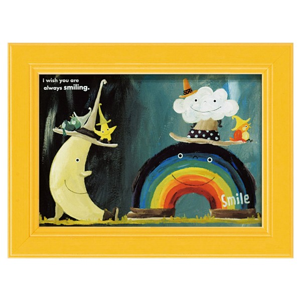 アートパネル ミニアート ウォールパネル インテリアパネル 動物 アニマル インテリア 子供部屋 壁掛け ミニアート 武内祐人 虹と雲と月 アートフレーム