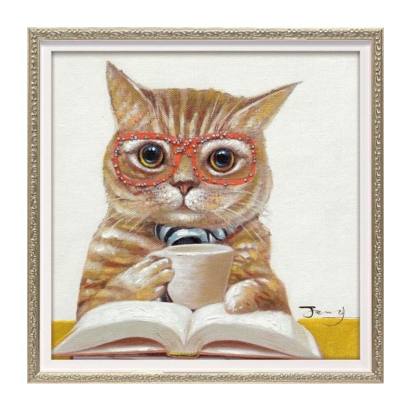 アートパネル 壁掛け インテリア 油絵 額入り オイル ペイント アート アートパネル 猫 カフェ キャット S 油絵 猫 ねこ ネコ キャット おしゃれ かわいい