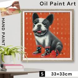 アートパネル モダン おしゃれ 黒い 犬 グッズ いぬ イヌ 犬好き 動物 アニマル アートフレーム 額入り 壁掛け 油絵 手描き アート 大型アート 絵画 絵 ハンドペイント オイルペイント アート あったか