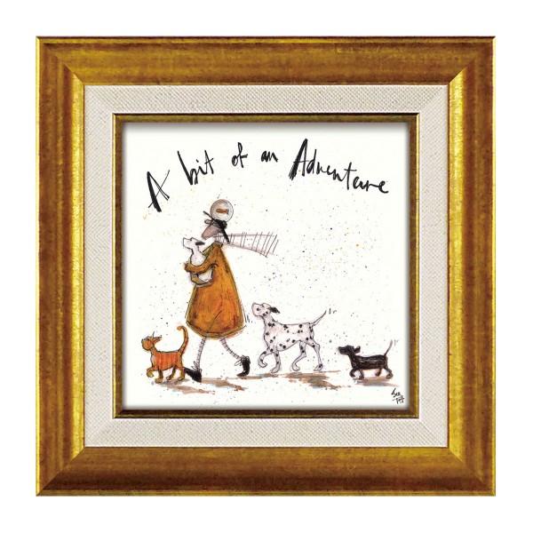 アートパネル アートフレーム ミニアート ミニサイズ 小さい 絵画 絵 壁掛け サムトフト イギリス作家 ウォールパネル インテリアパネル おしゃれ 絵画 絵 アートボー ド インテリア ほんの少しの冒険 玄関 ほっこり 癒し 犬 イヌ いぬ ドッグ