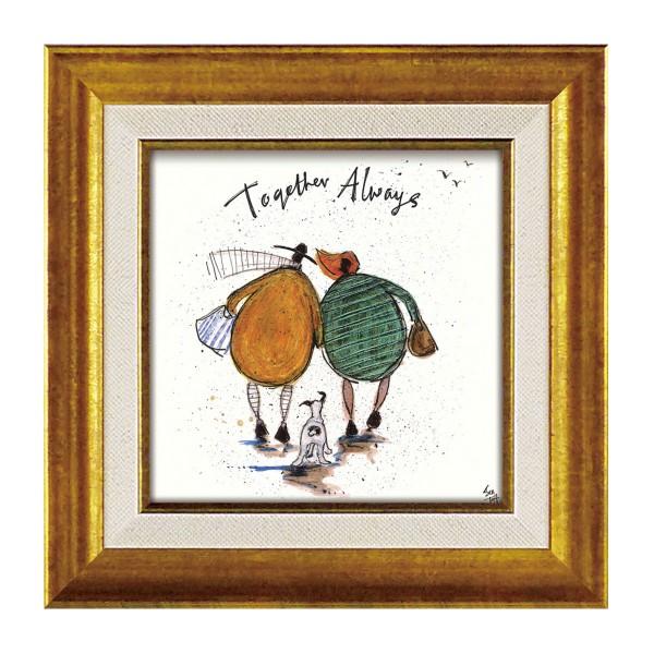 アートパネル アートフレーム ミニアート ミニサイズ 小さい 絵画 絵 壁掛け サムトフト イギリス作家 ウォールパネル インテリアパネル おしゃれ 絵画 絵 アートボー ド インテリア いつも一緒に 玄関 ほっこり 癒し 犬 イヌ いぬ ドッグ