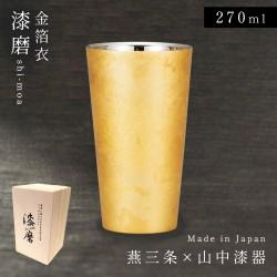 ビールグラス ビアカップ タンブラー ビール フリーカップ 和食器 和 和風 和柄 漆 焼酎カップ  酒器 コップ お酒 日本製 漆磨二重ストレートカップ 箔衣 山中塗 日本製 和紙コースター付き