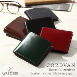 二折財布(小銭入付) 松阪レザー 牛革 バンビ GREDEER コードバン GCKC106 春財布 メンズファッション