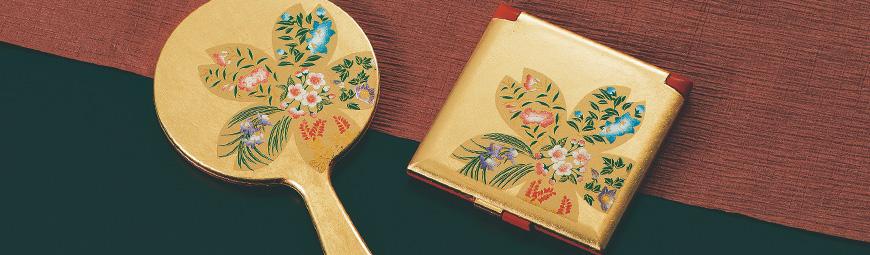 鏡 手鏡 コンパクトミラー 日本製 さくら小花 姫鏡 16530