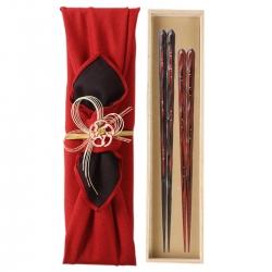 結婚祝い 夫婦箸 贈り物 ペア 高級箸 おしゃれ かわいい 桐箱 箸 ペア 二膳セット  若狭塗 一雫 一双