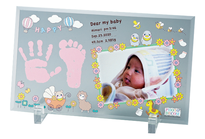 フォトフレーム オリジナル 赤ちゃん 手形 足型 ベビーおしゃれ 写真立て プリント ベビーギフト プレゼント 出産祝い 内祝いフォトデコム クリアガラス Mサイズ