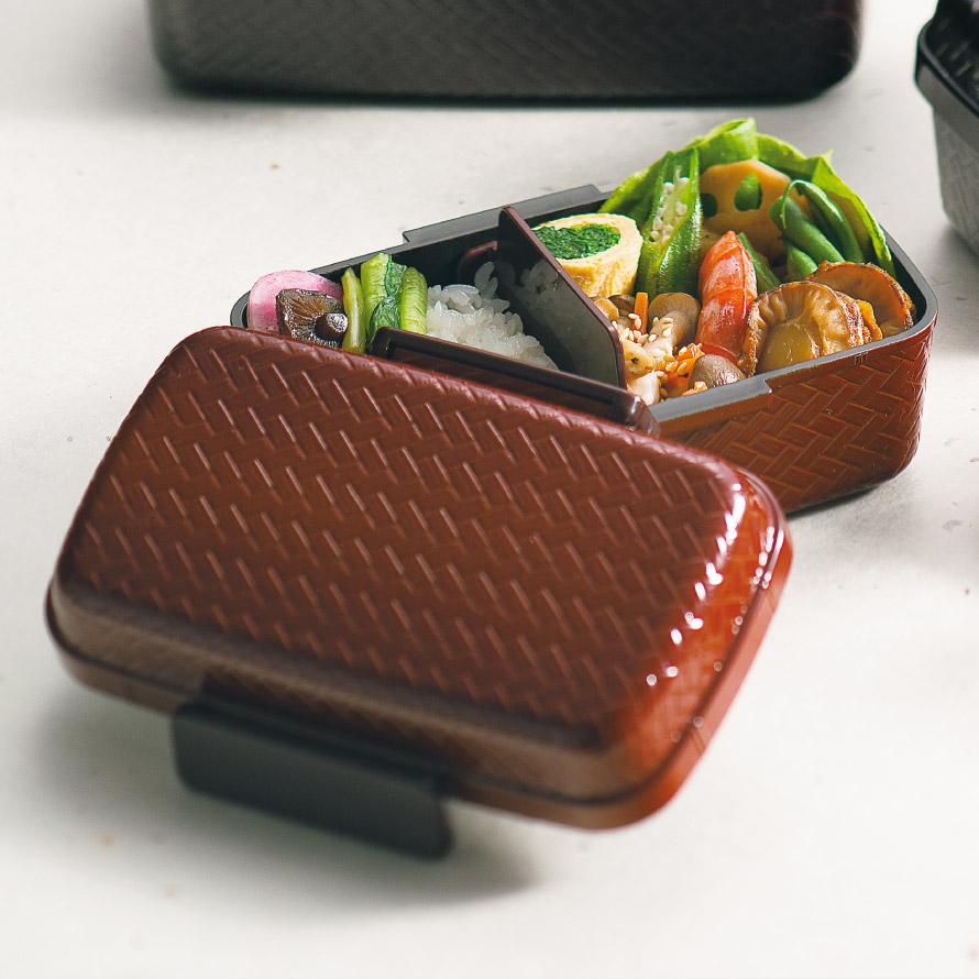 弁当箱 女子 レディース 女性用 1段 和風 あじろ一段弁当 大 タイト式 プラスチック製 樹脂製 日本製 電子レンジ対応 食洗機対応