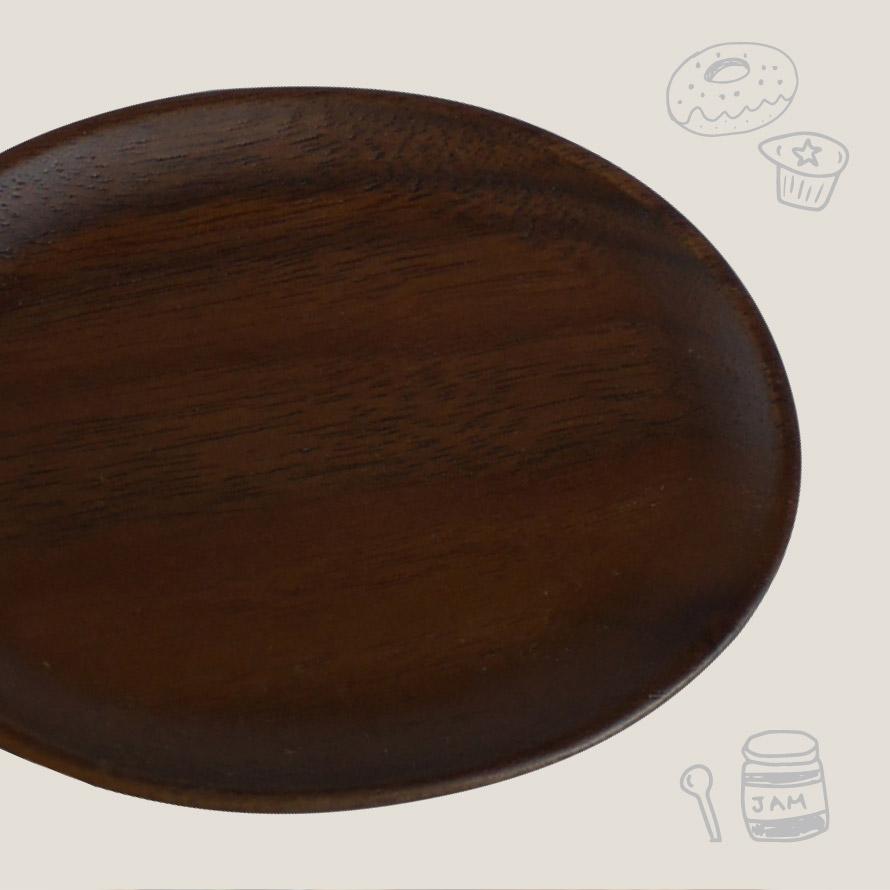 小皿 おしゃれ 木製 ウォルナット まめ皿 オーバル 3V2-10